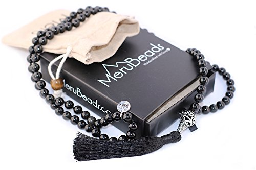 Premium Obsidian Black Mala Beads Necklace – Buddhist Prayer Beads for Meditation – Mala Bracelet – Yoga Jewelry – Mala Necklace – Meditation Beads – …