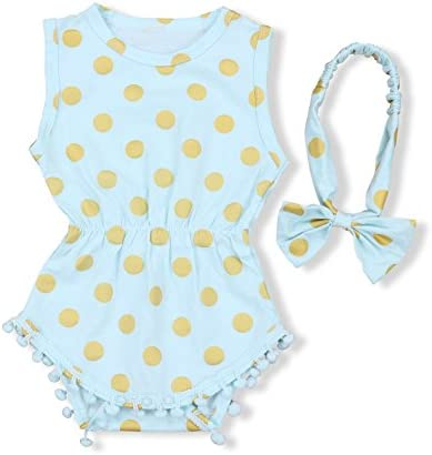 [Sponsored] Yoveme Baby Girl Clothes Gold Dots Bodysuit Romper Sleeveless Tassel Outfits with Bowknot Headband