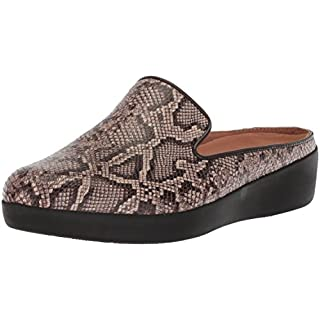 FitFlop Women's Superskate Slip-ON Mule Sneaker, Taupe Snake, 9 M US