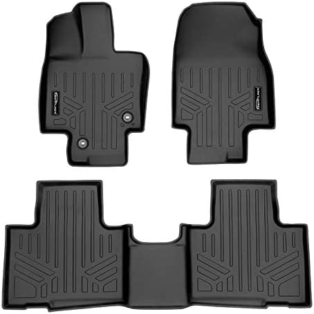 SMARTLINER Floor Mats 2 Row Liner Set Black for 2020-2021 Highlander Fits w/ 2nd Row Bench or Bucket Seats w/Center Console (No Hybrid)