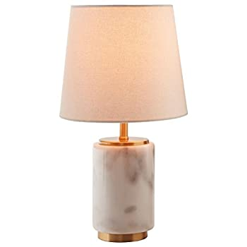 "Rivet Modern Marble Mini Lamp With Bulb, 14"" H, White Marble, Brass"