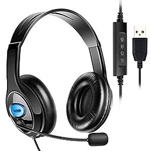 ヘッドセット USB式 両耳 マイク付き 120度回転 高音質 ヘッドフォン ヘッドバンド調整