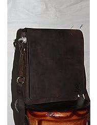Cuero 12 Leather Office Satchel Laptop I Pad Satchel Leather Men and Womens Bag Leather Flap Over Shoulder Messenger...