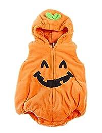 SUPEYA Toddler Baby Halloween Outfits Boys Girls Pumpkin Fleece Romper Vest Jumpsuit