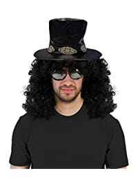 Slash Curly Rocker Wig With Hat Costume Set
