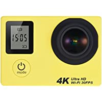 Action Camera ,4K 16MP 2 Inch FHD 1080P 170°Wide-angle WiFi Dual Screen Sports Camera Travel Camcorder Videocamera With Waterproof Case Battery Bicycle Mount Accessories Kit For Subacquea (Yellow)