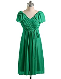 Sunvary Cap Sleeves Empired Maternity Bridesmaid Prom Dresses Knee Length