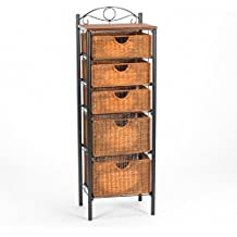 Celtic Bakers Iron and Abundant Wicker Baskets 5-Drawer Storage Solution Unit
