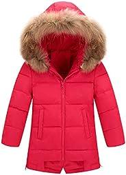 AIEOE Girl's Winter Hooded Down Coat Long Puffer Jacket Parka Outwear 3-8Y