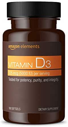 Amazon Elements Vitamin D3, 5000 IU, 180 Softgels, 6 month supply (Packaging may vary)