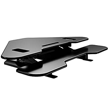 Smart & Art Height Adjustable Sit to Stand Computer Desk Standing Desk Riser Workstation (Triangle Desktop) Specially for Cubicles