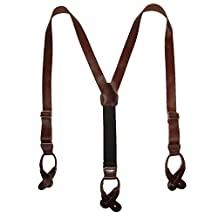 CTM® Men's Leather Button-End 1 Inch Suspenders, Brown
