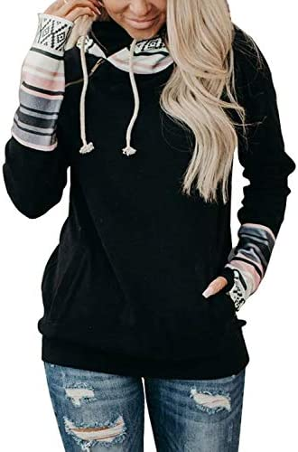 Chase Secret Women Long Sleeve Zip Pullover Color Block Plaid Hoodies Casual Sweatshirts Tops with Pockets