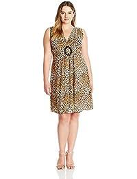Womens Plus-Size Sleeveless O-Ring Dress
