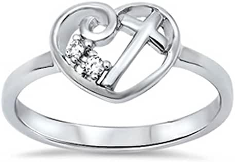 Heart Cubic Zirconia Cross .925 Sterling Silver Ring Size 4-13