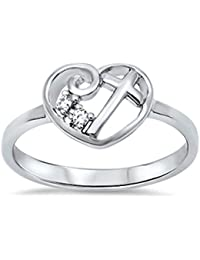 Heart Cubic Zirconia Cross Girl Purity .925 Sterling Silver Ring Size 4-13