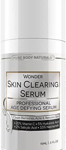 Pure Body Naturals Wonder Skin Clearing Age Defying Serum for Face, Breakouts, Blemishes and Wrinkles for All Skin Types, 0.5 fl. oz.