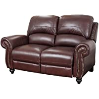 Abbyson Durham Leather Pushback Reclining Loveseat