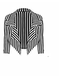 Friendz Trendz- Women's Stripe Print Waterfall Style 3/4 Sleeve Crop Blazer Jacket