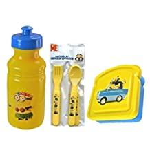 Despicable Me Minion Mayham 6pc. Childrens Lunch Set! Includes Pull Top Water Bottle, Flatware & Sandwich/Snack Container!