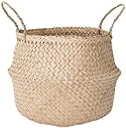 Sona Home Seagrass Basket with Handles, 4 Sizes, 2 Styles - Woven Basket for Plants, Belly Basket, Blanket Hol