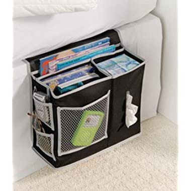 Richards Homewares 6 Pocket Bedside Storage Mattress Book Remote Caddy (Caddy, Black)