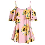 Women Ruffles Cold Shoulder Cami, 2019 Fashion Lady Sunflower Print Flounce Short Sleeve Vest Tank Top Blouse
