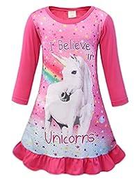 AmzBarley Unicorn Girls Kids Long Sleeve Pajama Nightgown Dress