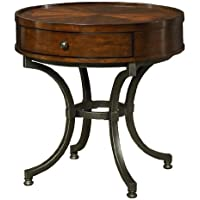 Hammary Barrow Round End Table w/ Mahogany Top & Metal Base