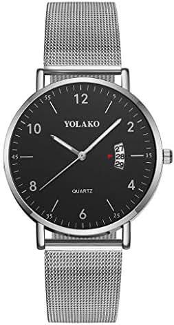 Ultramall BC2 Sleek Minimalist Calendar Stainless Steel Mesh Belt Ladies Quartz Watch