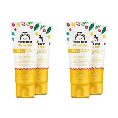 Marca Amazon- Mama Bear - Crema solar para bebes FPS 50 (Alta proteccion UVA/UVB)- 4 tubos - 4x100ml