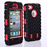 Tire Pattern Dual Layer High Impact Defender Case Cover for iPhone 4/4S - Red