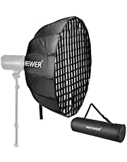 Neewer 25 Inches Hexadecagon Collapsible Silver Beauty Dish with Bowens Mount, Removable Internal and External Diffuser and Grid, Quick Folding Softbox for Photography Studio Flash Head and Monolight