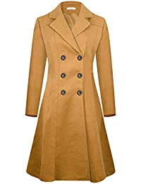 Womens Winter Trench Coat Long Lapel Double Breasted Wool Pea Coat WS02