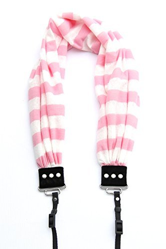 Pink & White Stripe Scarf Camera Strap