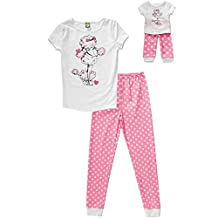 "Girl's Pajama PJ's Set Matching 18"" Doll Set Poodle 6x & 7"