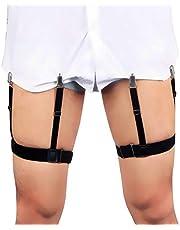 Estancia de camisa mejorada para hombres, sujetadores de correa con liga elástica ajustable, tirantes con abrazaderas de fijación antideslizantes para camisas, trajes o uniformes militares y de policía (Negro)