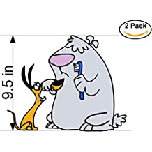 2 Stupid dogs 2 Stickers Huge 9.5 inches Cartoon Car Bumper Window Sticker Decal_3