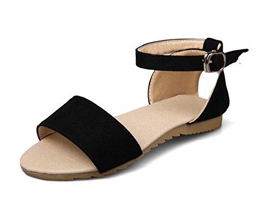 GLTER Mujeres Peep Toe tobillo Strap bombas simples zapatos planos para llevar sandalias ocasionales de gran tamaño 40-43 zapatos , black , 41 41|black