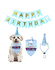 Set of 3 Dogs Party Supplies Dog Birthday Bandana with Happy Birthday Banner and Doggie Birthday Party Hat for Puppy Birthday Decoration (Blue)