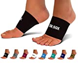 SB SOX Compression Arch Sleeves for Men & Women - Perfect Option to Our Plantar Fasciitis Socks - For Plantar Fasciitis Pain Relief and Treatment for Everyday Use with Arch Support (Black, Large)