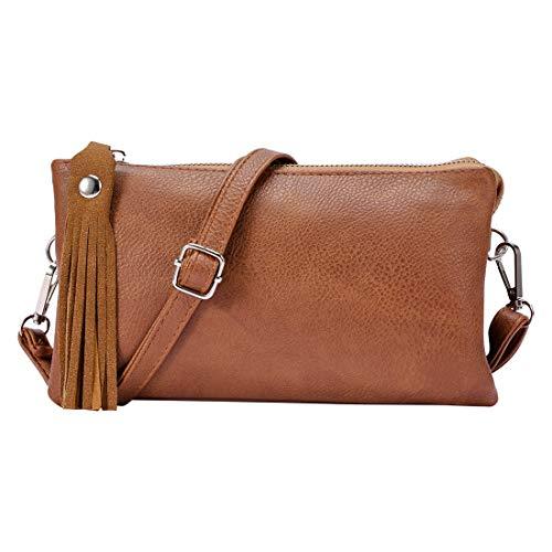Vegan Leather Clutch Wallet Purse Phone Card Slots Small Shoulder Crossbody Bag for Women/Girls