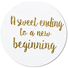 "80- 2"" a sweet ending to a new beginning stickers, wedding favor stickers labels"
