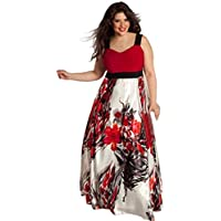 GONKOMA Womens Plus Size Floral Printed Evening Party Prom Gown Long Dress