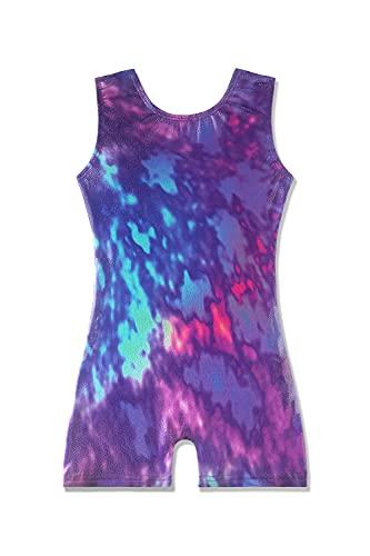 kids leotards gymnastics 5t size 5-6 years old toddler girls outfits apparel biketard tie dye blue purple pink sparkle