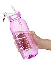 Vattenflaska,Vattenflaska Med Halm Och Handtag BPA-Fri, Daglig Vattenintagsflaska Med Tidmarkeringsspårare för Att Påminna Om Dricketid, Perfekt för Gymkontor