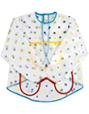 AvoDovA Kids Art Aprons, Waterproof Kids Aprons for Painting, Kids Art Smocks with 3 Roomy Pockets,Long Sleeve Toddler Play Aprons for Age 2-7 Years Boy Girl