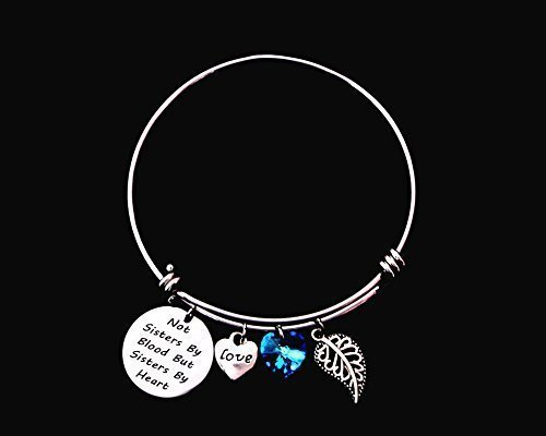 Not Sisters By Blood But Sisters By Heart Best Friends Adjustable Wire Bangle Bracelet with Blue Love Heart Crystal Stone