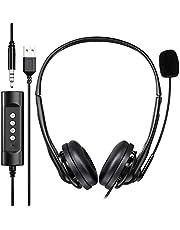 Newaner PC headset, USB headset, 3.5 mm computer headset met microfoon, stereo sound lichte PC headset met flexibele microfoon, telefoon headset voor Skype Voip Teamspeak Mac PC smartphone tablet