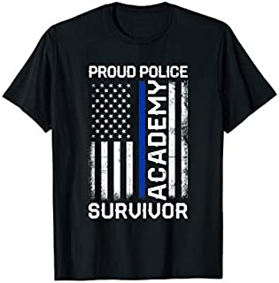 Proud Police Academy Survivor - Thin Blue Line Police Flag T-shirt | Size S - 5XL
